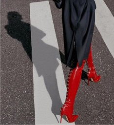 Statement Over The Knee Red Boot