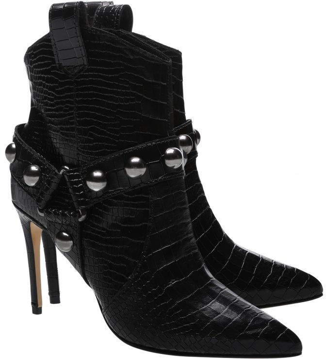 Ankle Boot Rock Western Croco Black