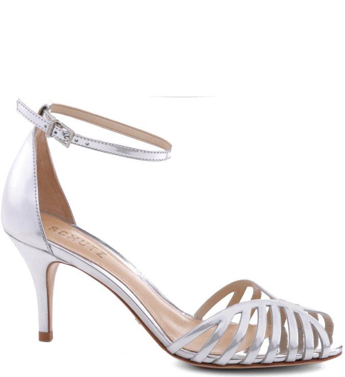 Sandália Metalizada Prata
