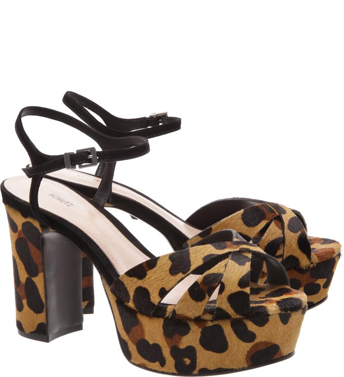 Sandália Bold Block Heel Medium Animal Print