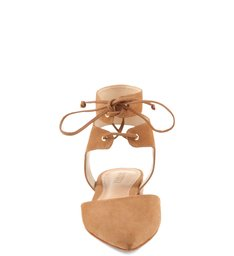 Flat Lace Up Camel