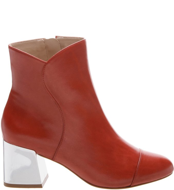 Bota Metallic Block Heel Red