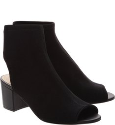 Sock Sandal Block Heel Black