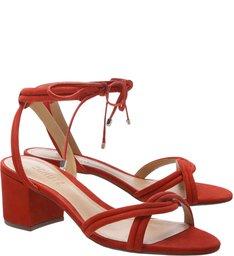 Sandália Block Heel Lace-up Red