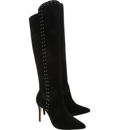 Knee-High Boot Slouchy Studs Black