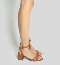 Sandália Block Heel Lace-up Wood