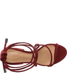 Sandália Chunky Heel Lace-up Red