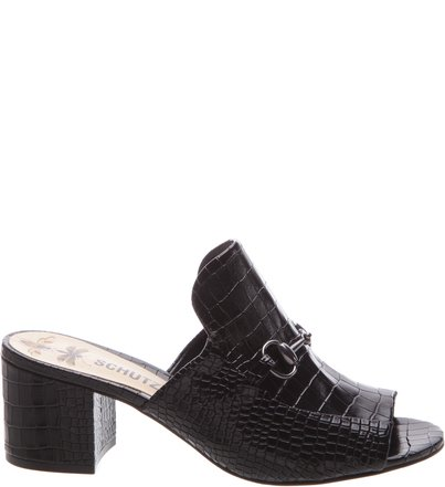 Mule Block Heel Croco Black