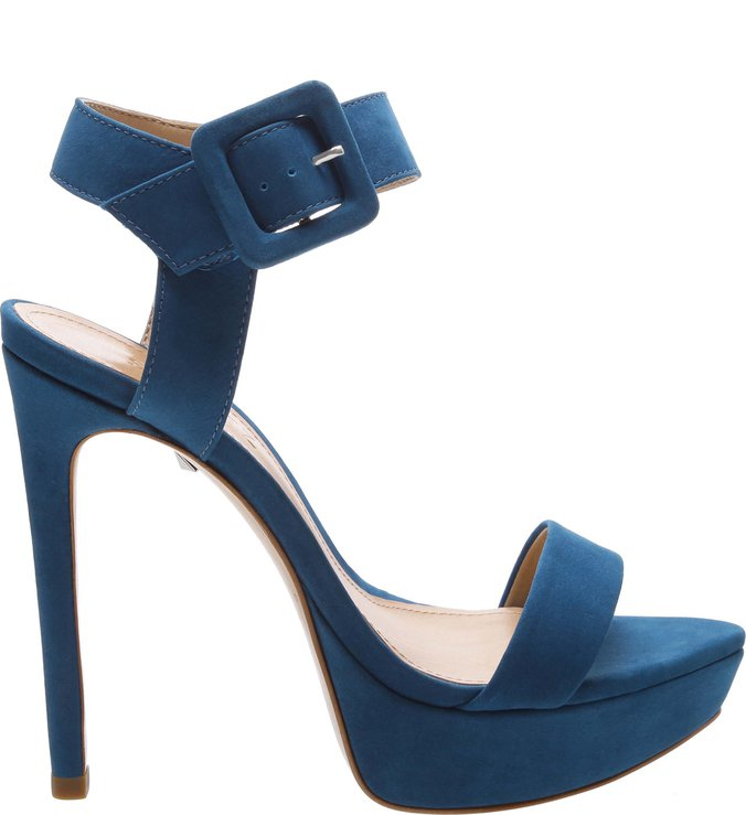 Sandália Salto Meia Pata Nobuck Blue