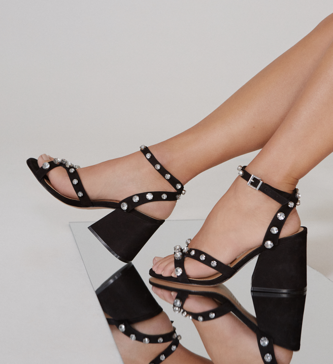 Sandália Block Heel Crystal Black