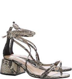 Sandália Chunky Heel Lace-Up Python