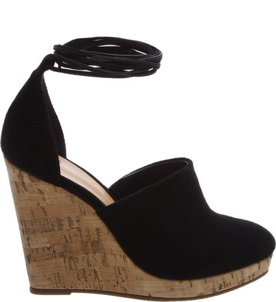 Wedge Espadrille Lace Up Black