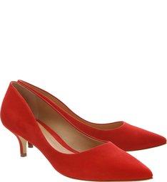 Scarpin Kitten Heel Nobuck Red