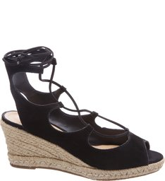 Wedge Lace Up Black
