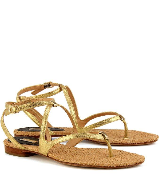 Sandália Rasteira Minimal Dourada