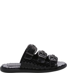 Slide Buckles Bright Snake Black