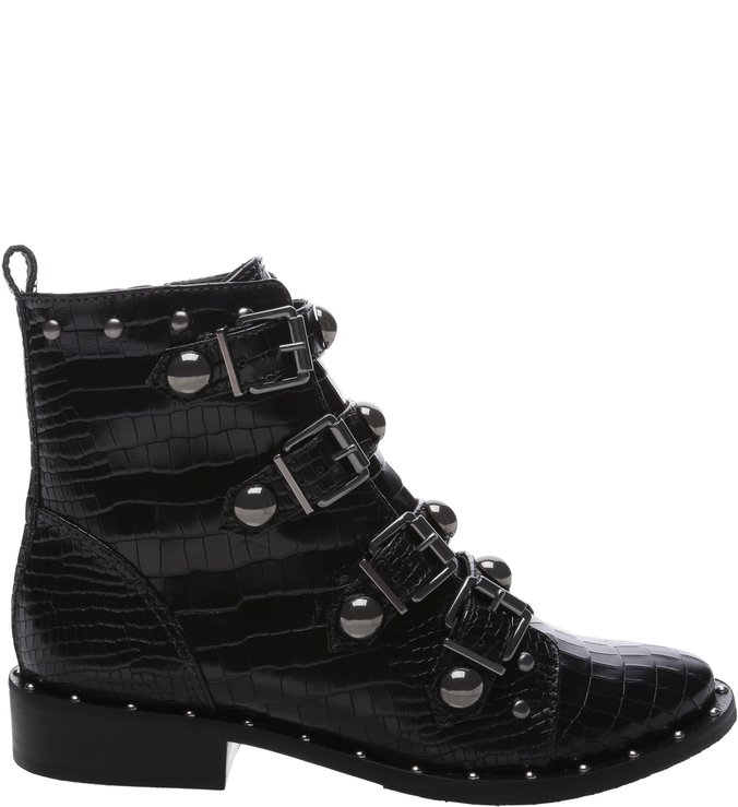 [On Demand] Combat Boot Buckles Croco Black | Schutz