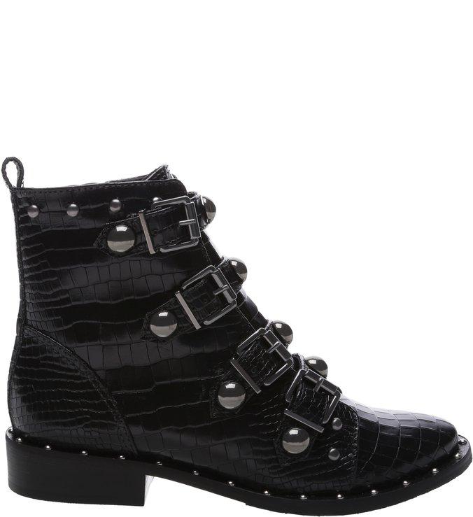 BACK IN STORE Combat Boot Buckles Croco Black