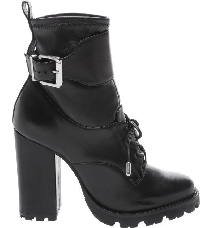 Combat Boot Leather Buckle Black