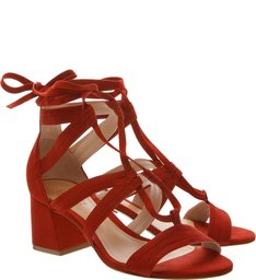 Sandália Block Heel Lace-Up Nobuck Red