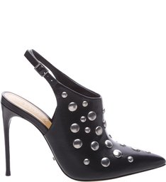 Slingback Studded Ankle Boots Black - US Special Collection