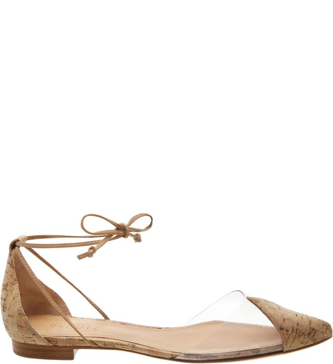 Flat Vinil Lace Up Nude