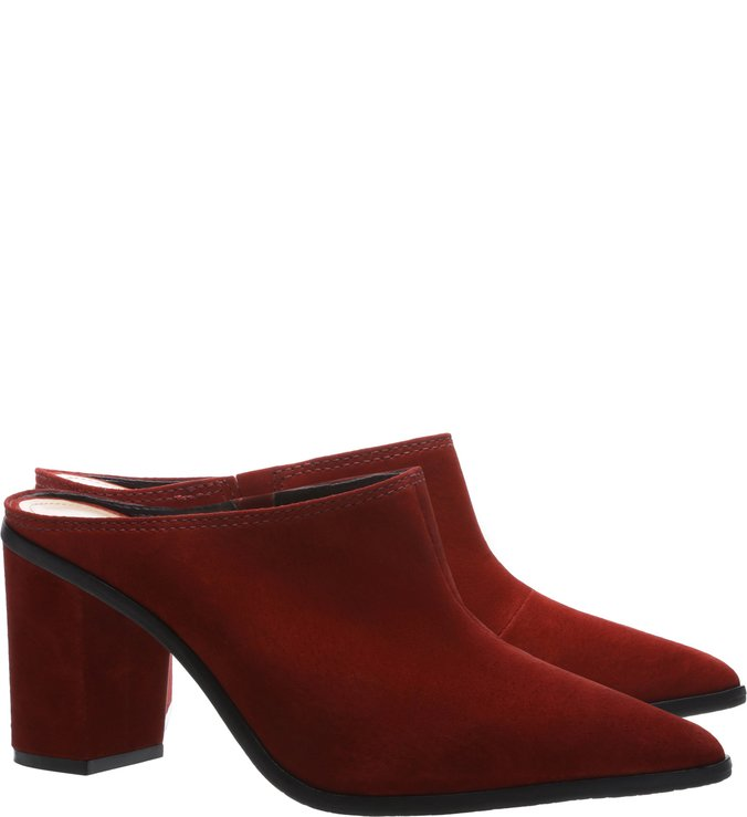 Mule Nobuck Block Heel Red