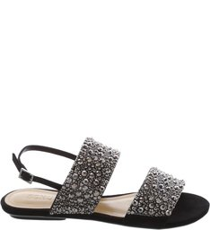Flat Double Straps Crystals Black