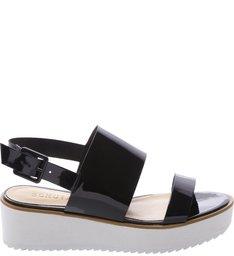 Sandália Flatform Cristal Black