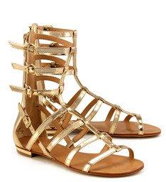 Sandália Rasteira Gladiadora Dourada