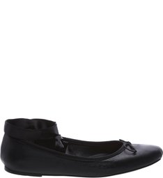 Ballet Flats Lace Up Straps Black