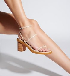 Sandália Block Heel Strings Cru