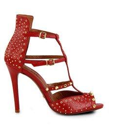 Sandália Golden Age Vermelha Tachas