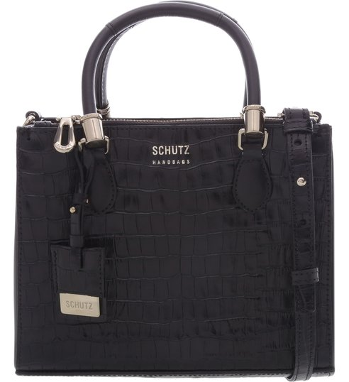 Mini Tote Lorena Croco Black