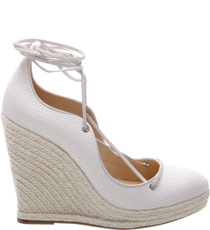 Wedge Espadrille Lace Up Pearl