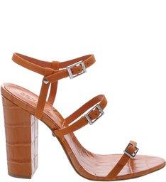 Sandália Salto Thin Stripes Ocre