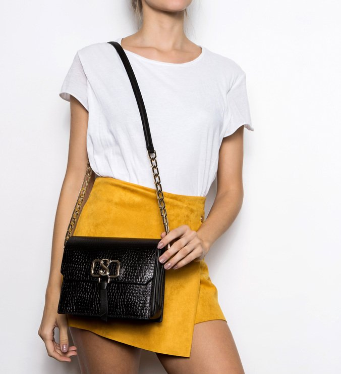 Crossbody Eva Croco Black