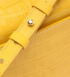 Bolsa Tiracolo Pequena Eloise Couro Croco Amarela