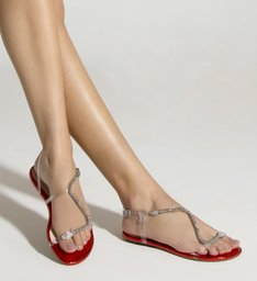 Sandália Rasteira Curves Vinil Metallic Red