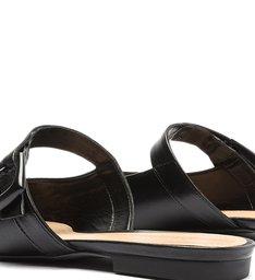 Sapato Mule Flat Couro Preto
