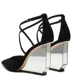 Sapato Scarpin Anabela Espelho Preto