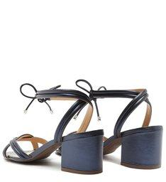 Sandália Salto Bloco Amarração Azul