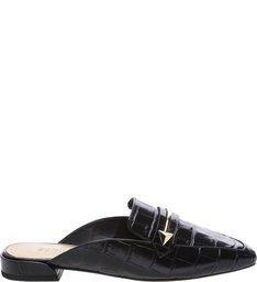Flat Mule Croco Black