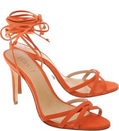 Sandália Lace Up High Heel Bright Orange