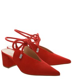 SAPATO BICO FINO LACE UP RED