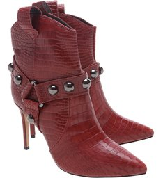 Ankle Boot Rock Western Croco Red