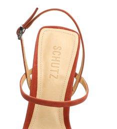 Sandália Salto Barra Tiras Couro Nobuck Vermelha