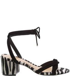 Sandália Block Heel Lace-Up Golden Croco