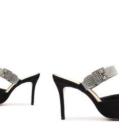 Sapato Mule com Salto Nobuck Cristais Preto