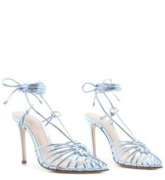 Sandália High Lace-Up Metallic Blue